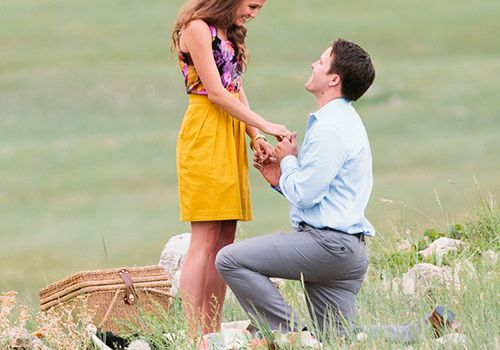Proposal in a meadow