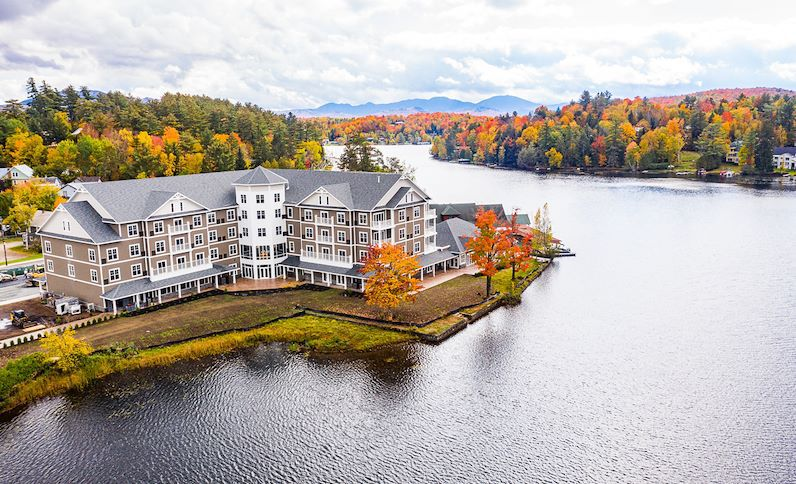 Aerial view of the Saranac Lodge in New York