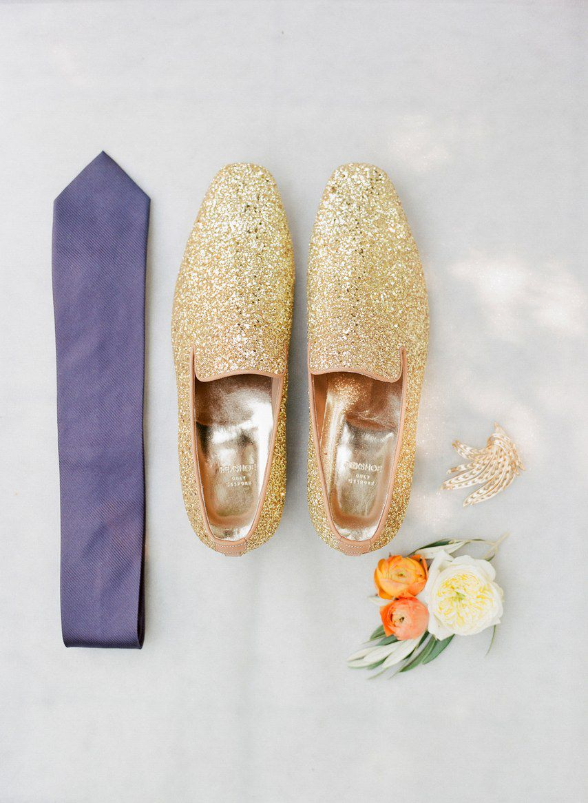 Flat lay of sparkly loafers