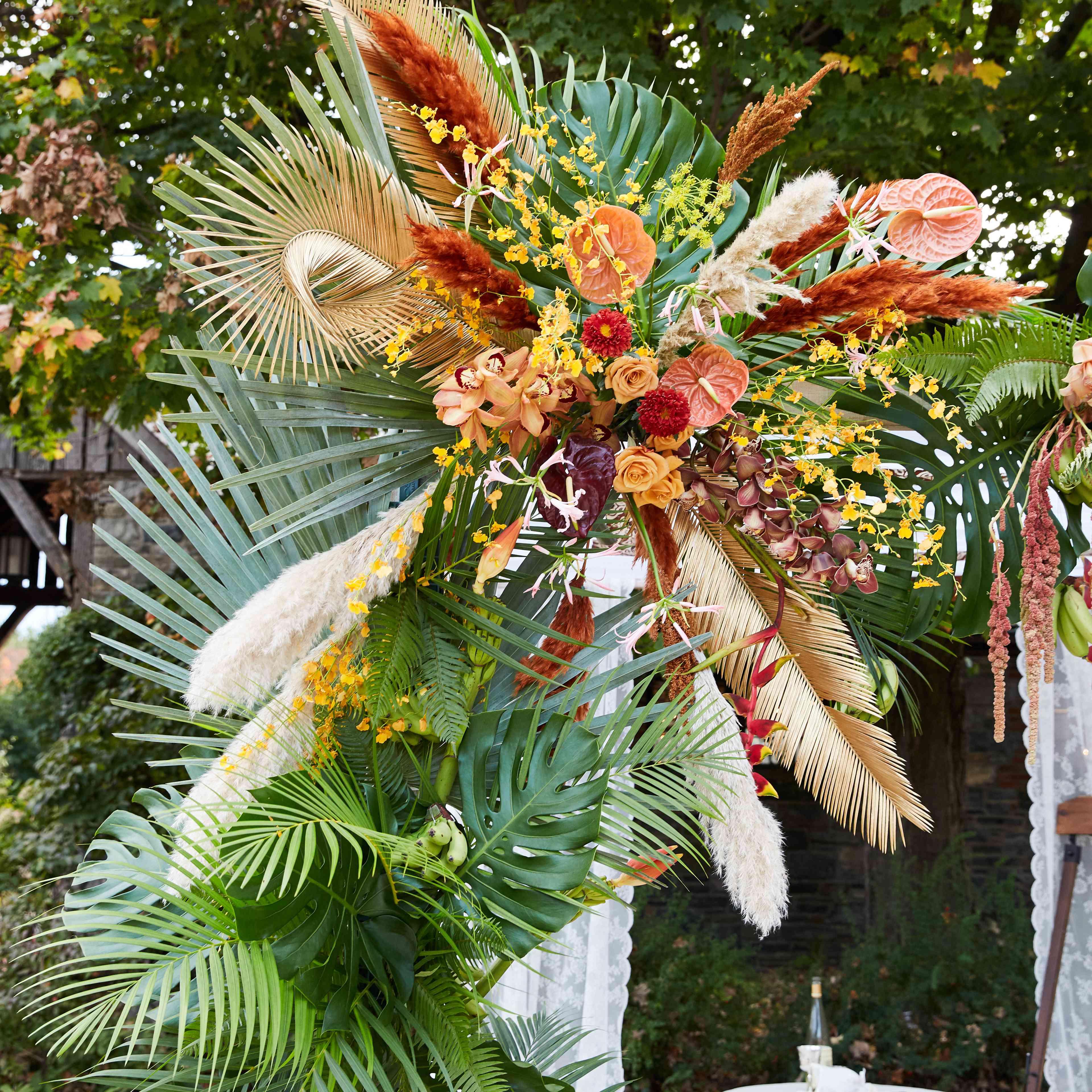 Tropical floral chuppah
