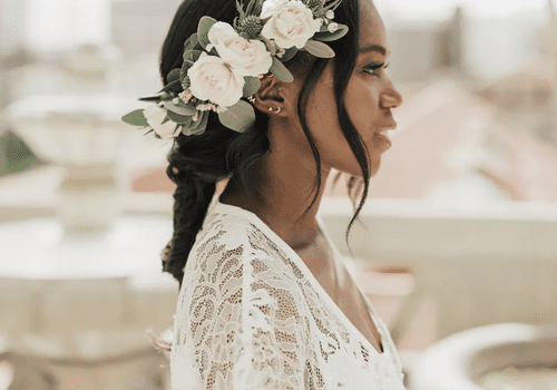 Bride with floral braid