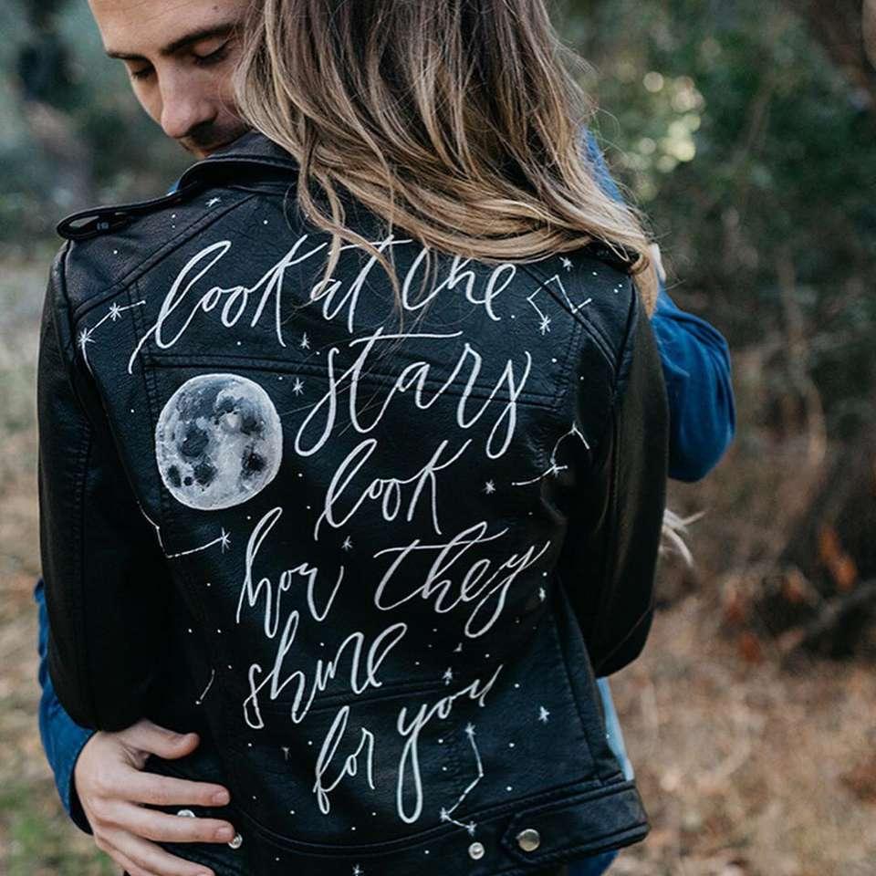 An embellished leather jacket