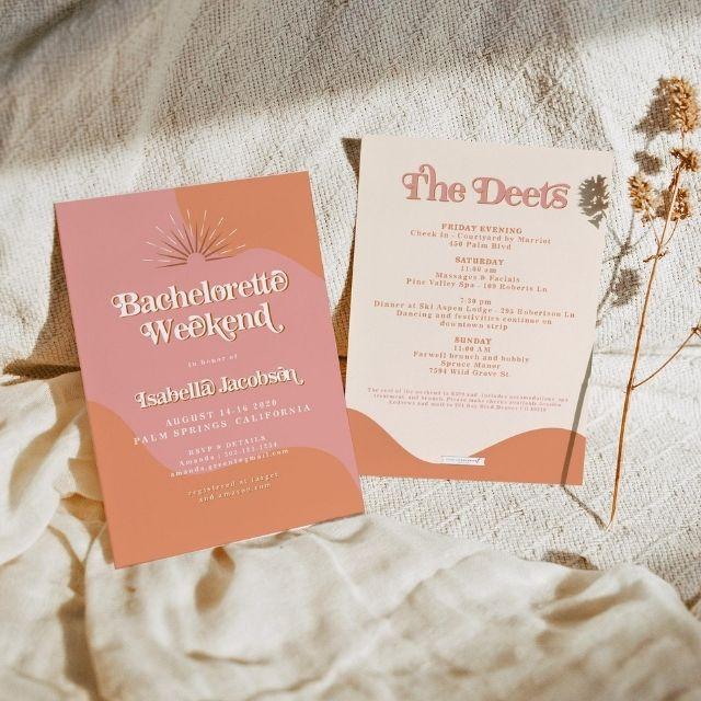 UnmeasuredEvent Trixie Retro Bachelorette Invitation