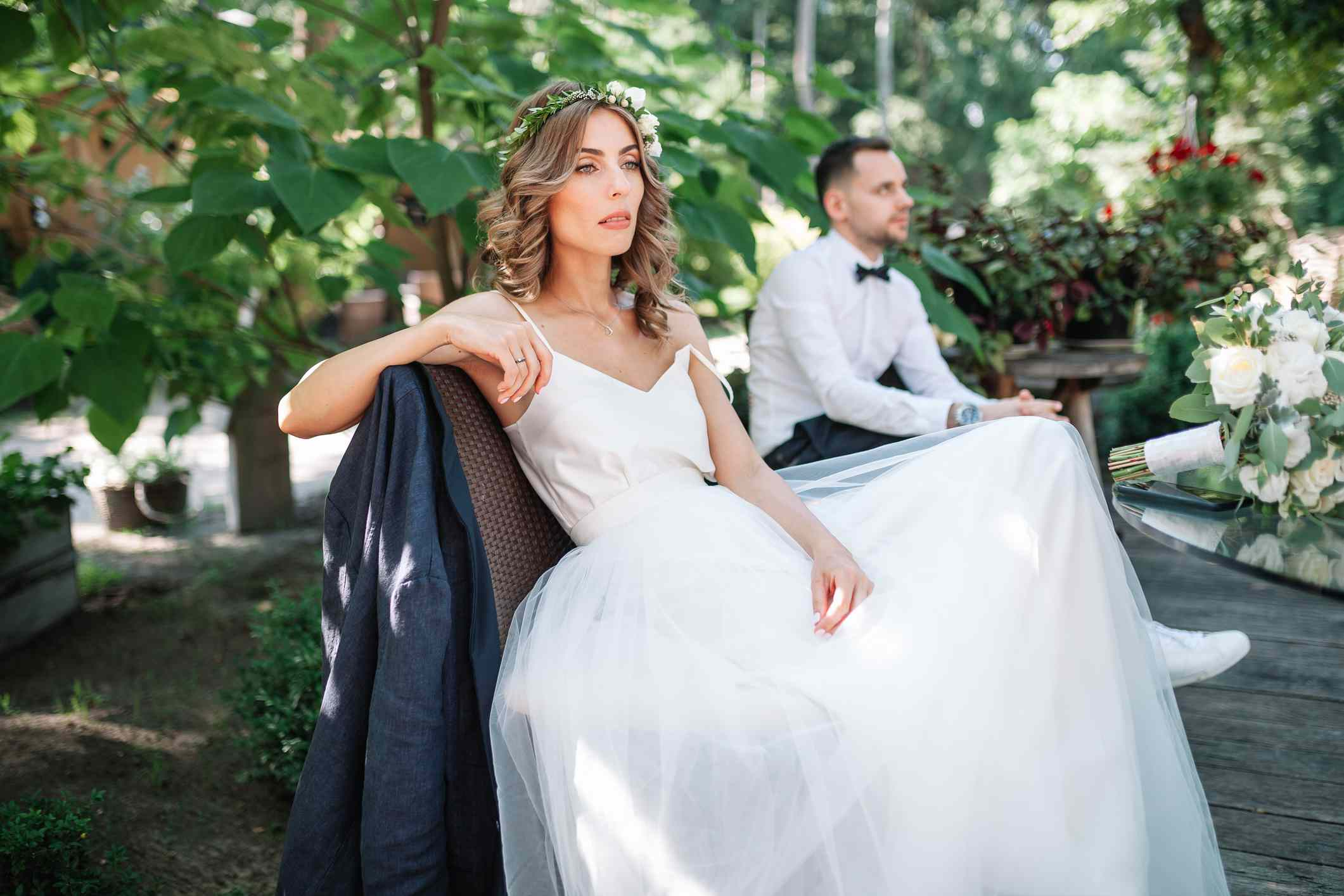 Bride annoyed with groom