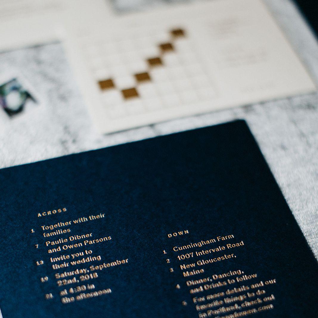 Wedding invitation crossword puzzle