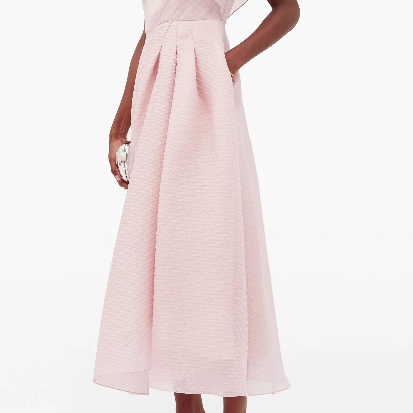 one-shoulder silk-blend organza dress