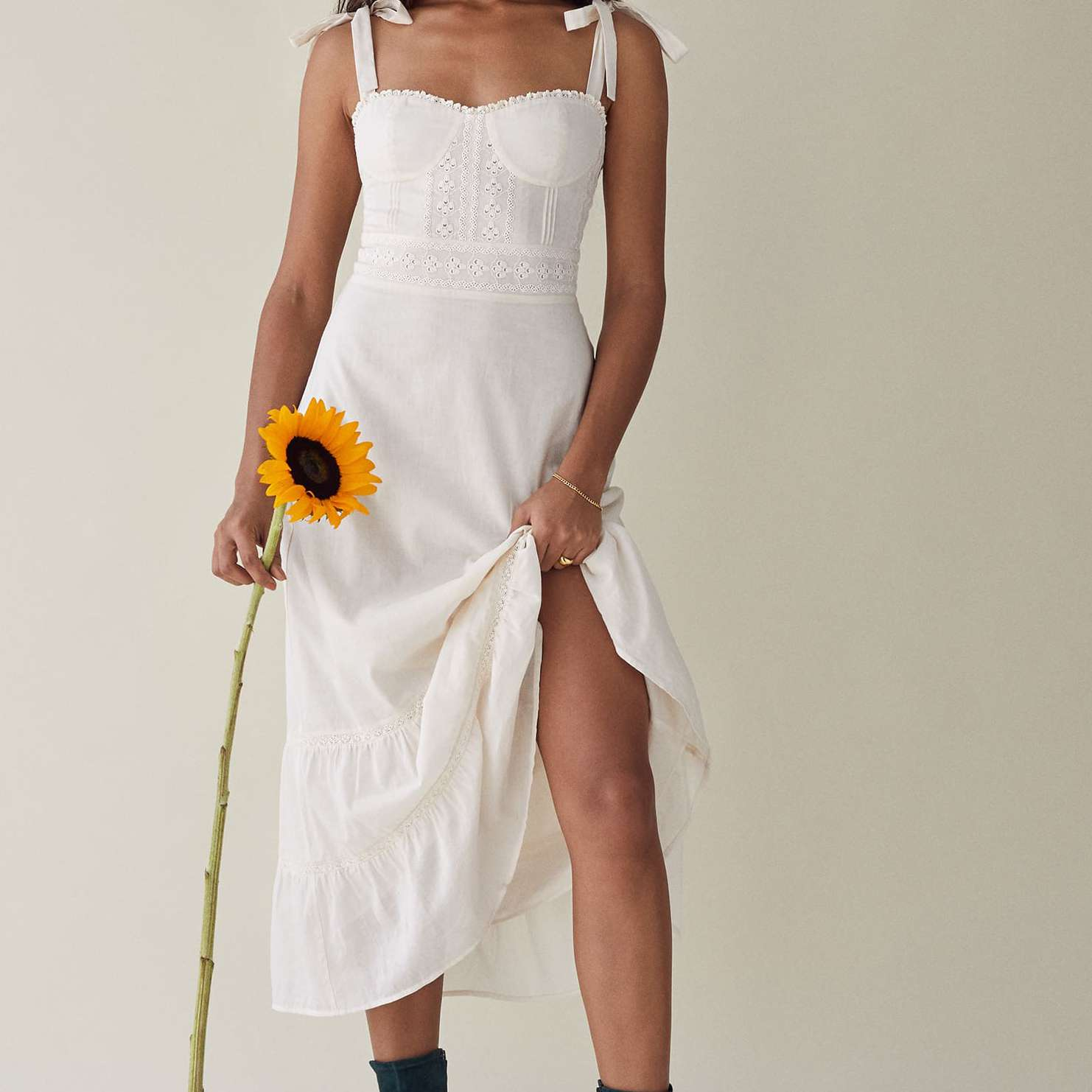 shoulder bows dress
