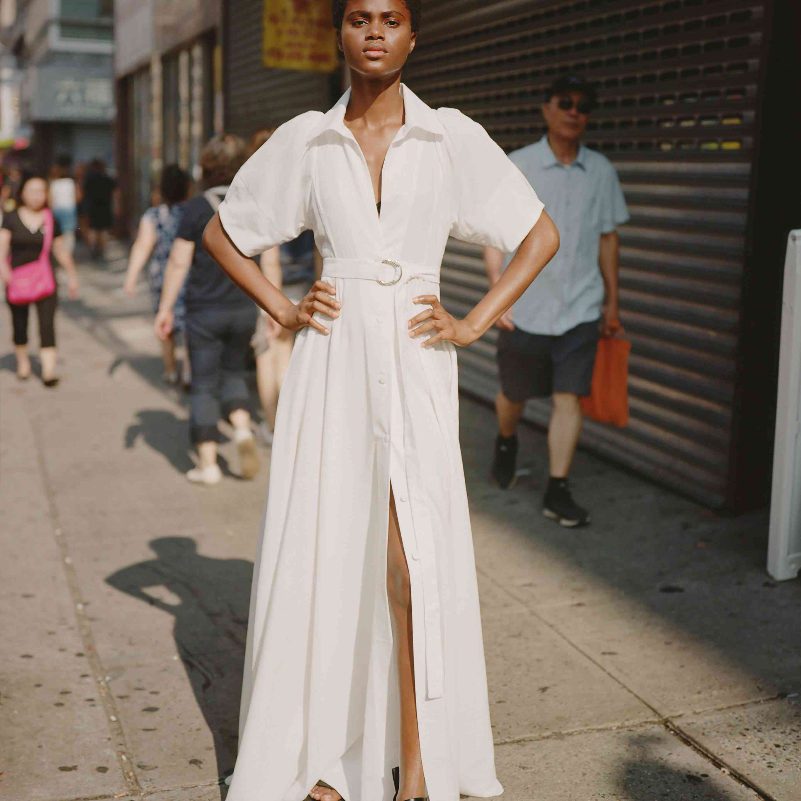 Model in collared midi wedding dress