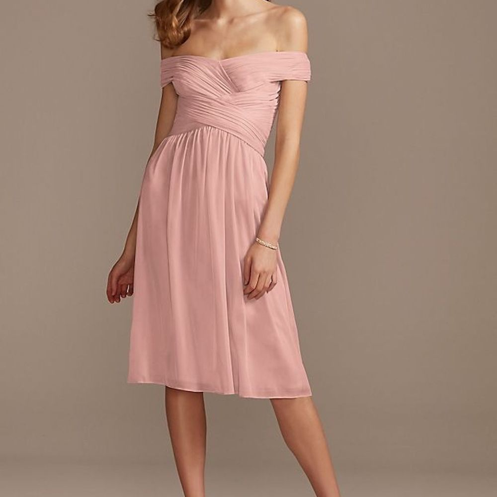 Off the Shoulder Pleated Short Bridesmaid Dress