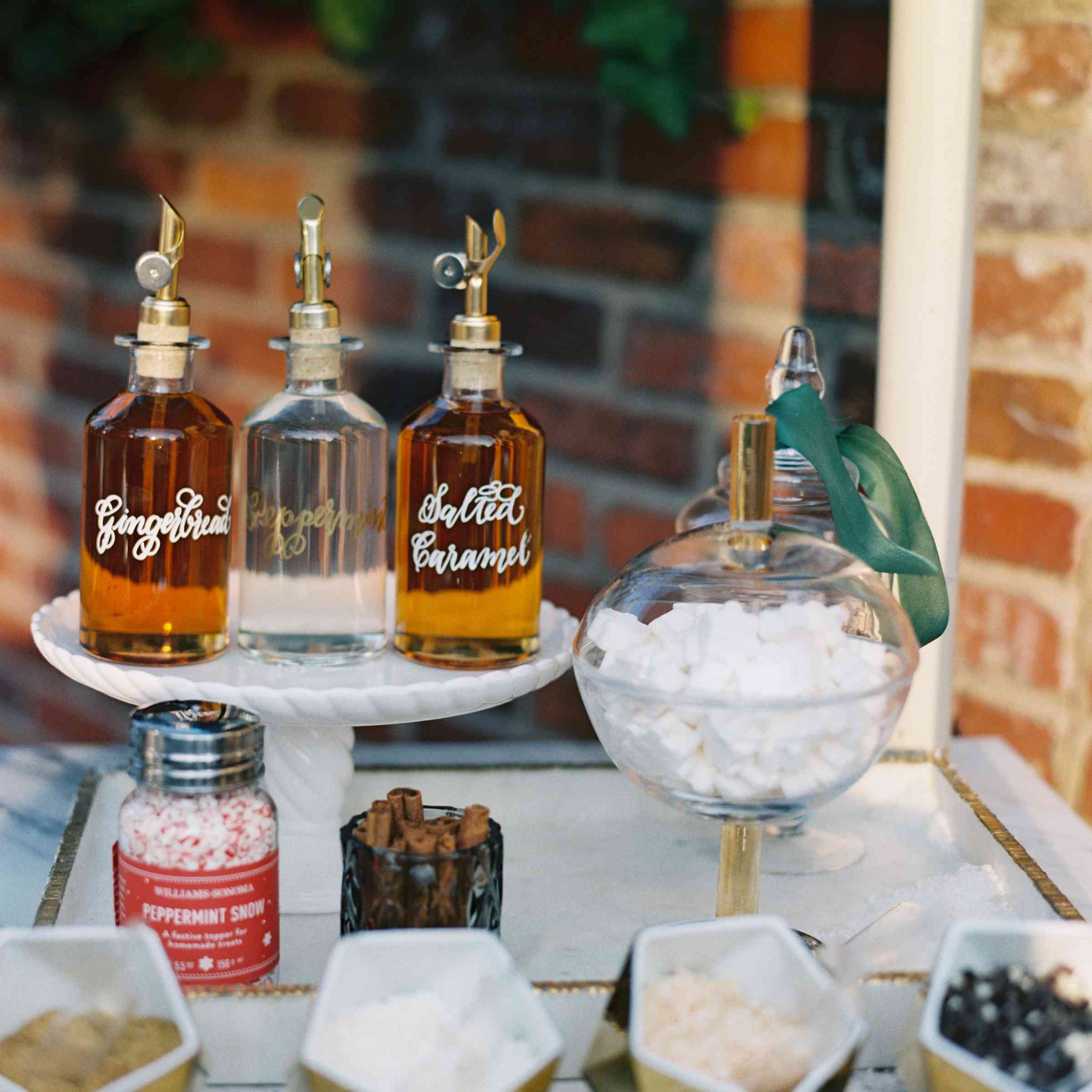 Toppings and flavor syrups at hot cocoa bar