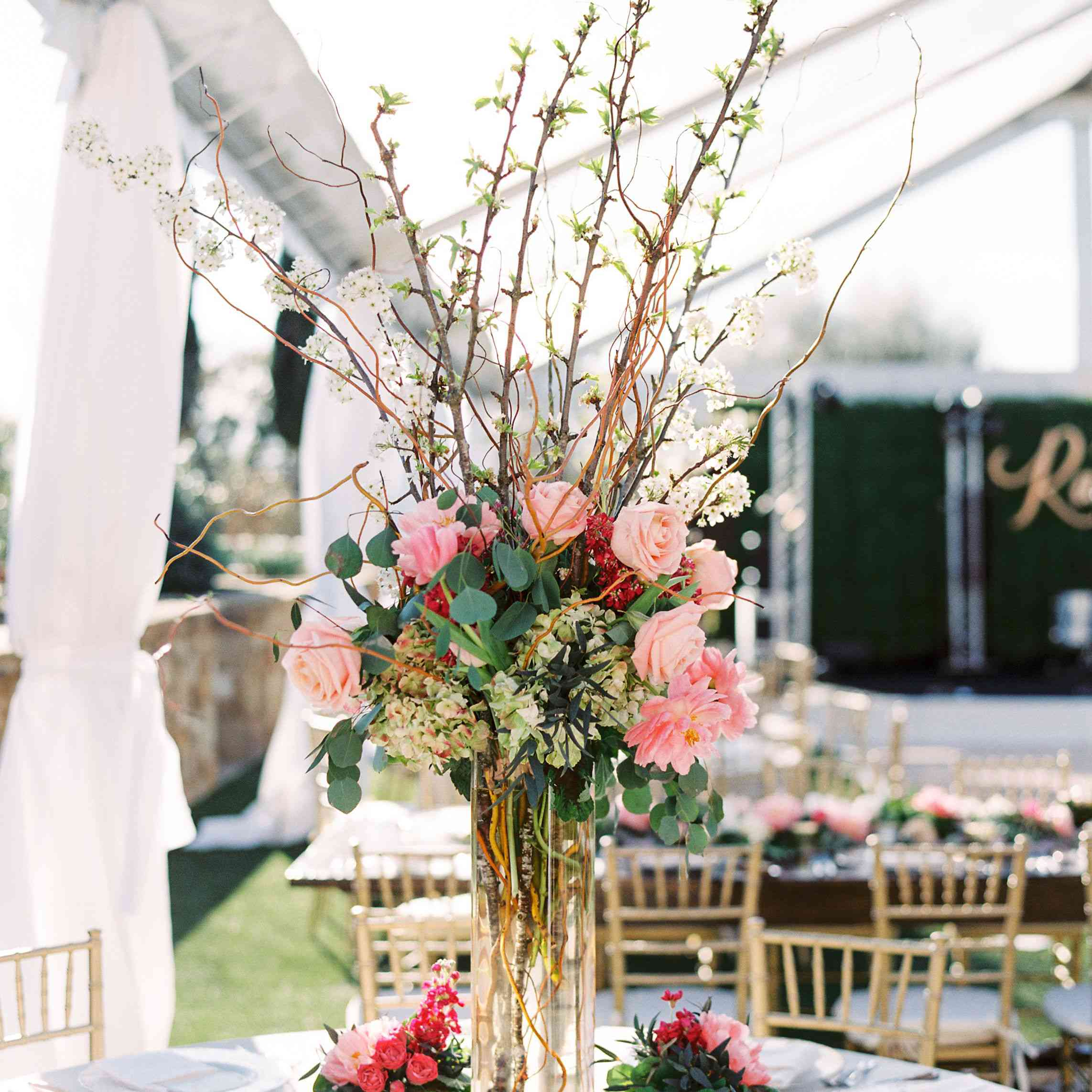Wedding centerpiece with branches