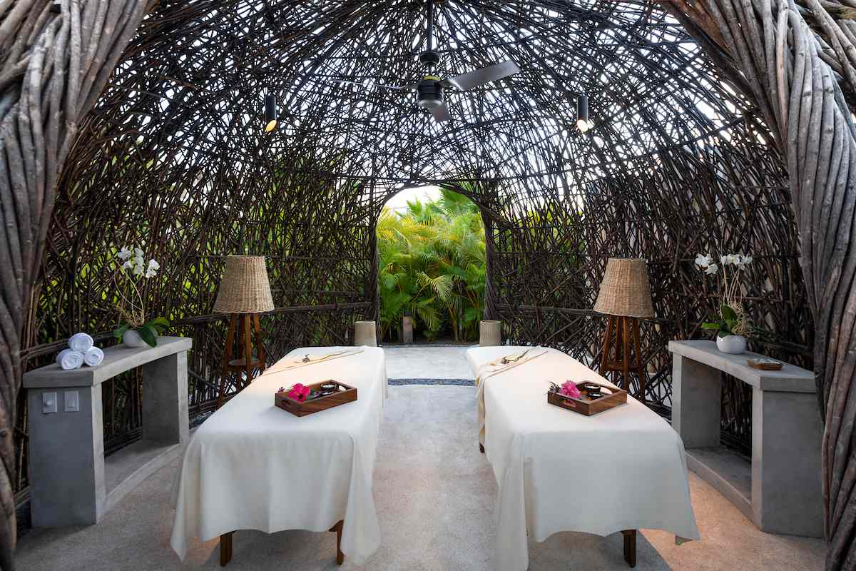 wooden dome with massage tables