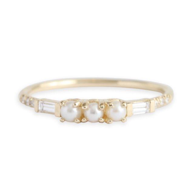 Jennie Kwon Pearl Baguette Equilibrium Ring