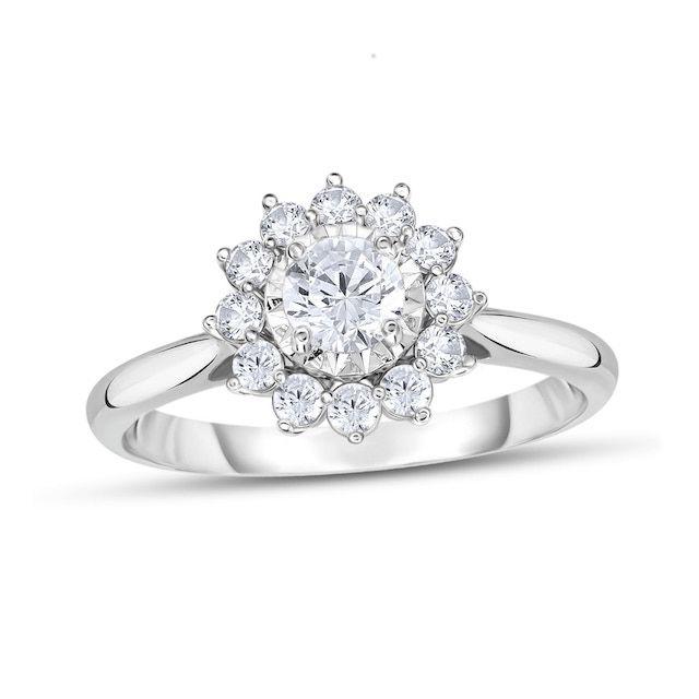 Zales Diamond Sunburst Engagement Ring