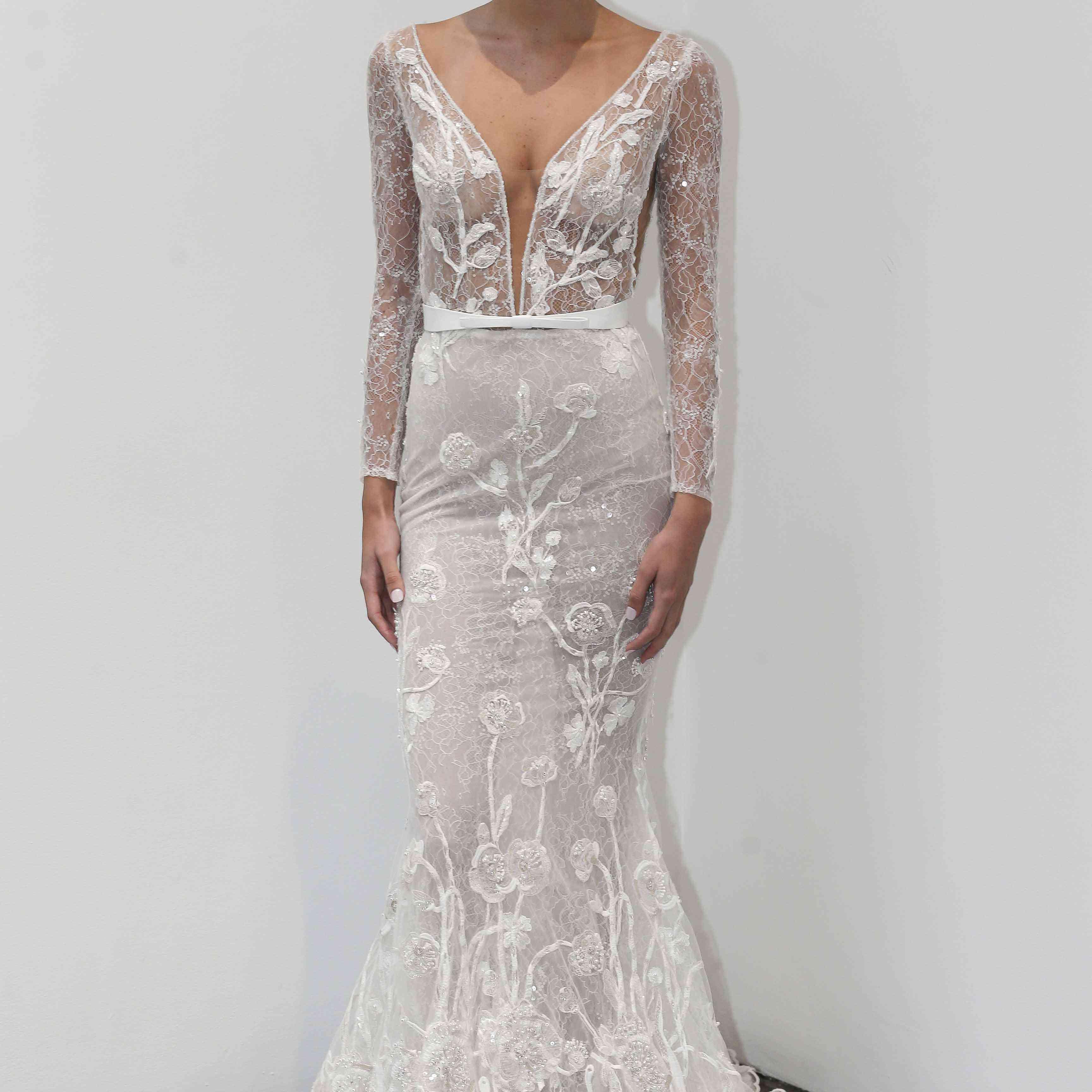 Peony long sleeve wedding dress