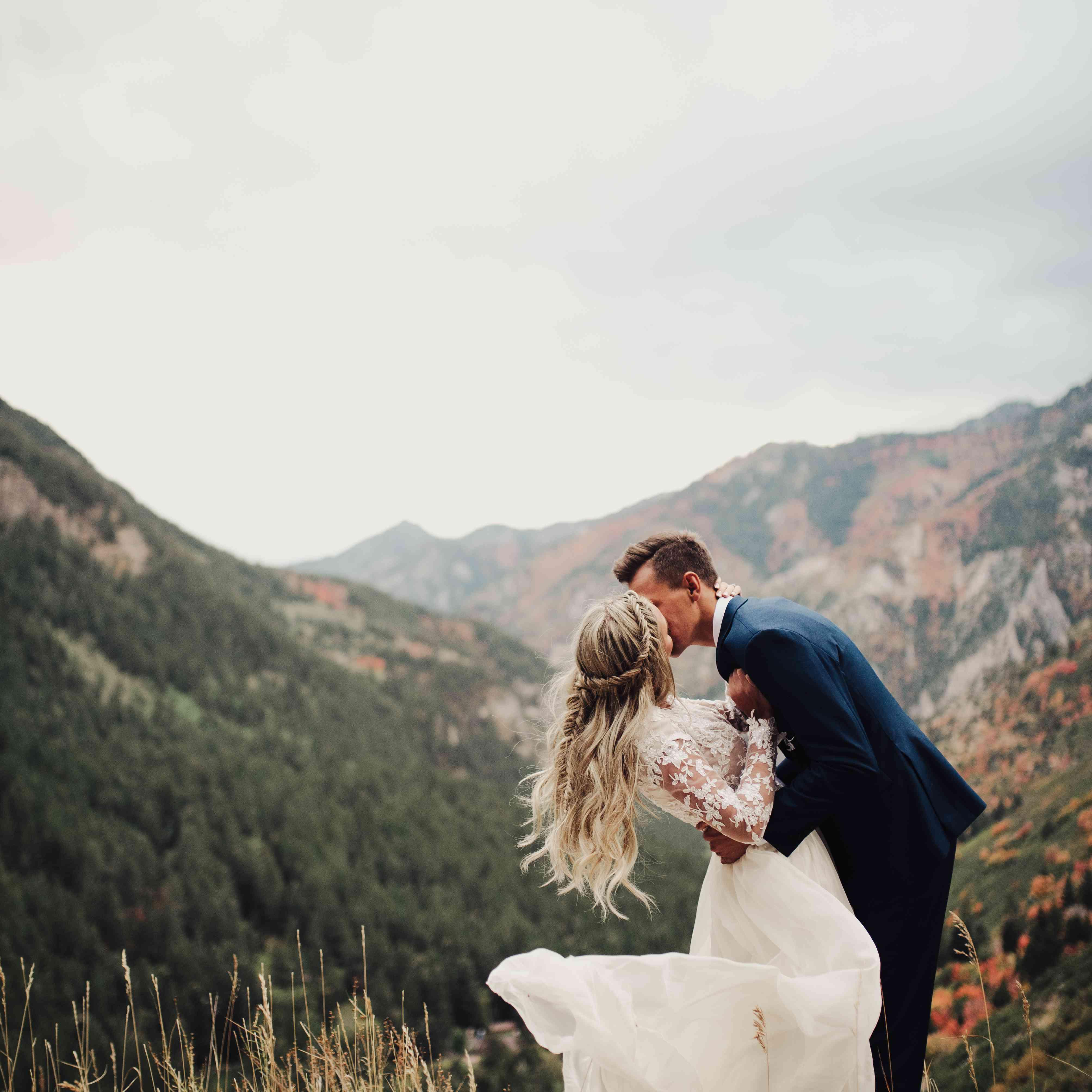 Bride in Billowing Wedding Dress