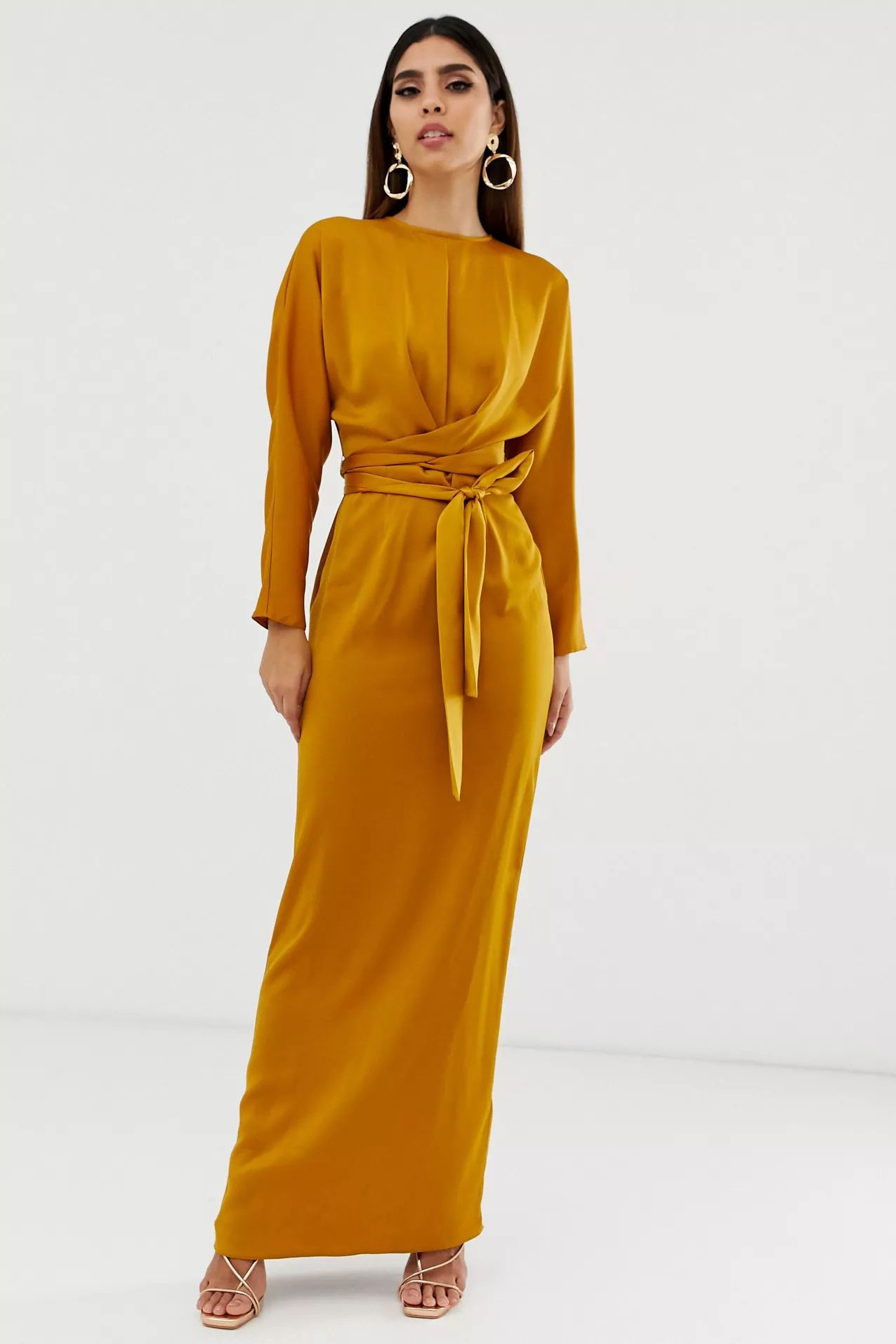 maxi dress with batwing sleeve and wrap waist in satin