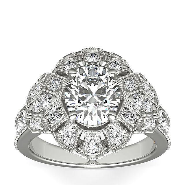 Blue Nile ZAC Zac Posen Milgrain Floral Open Halo Diamond Engagement Ring