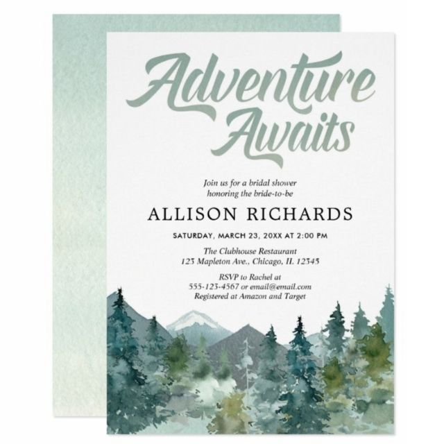 Zazzle Adventure Awaits Rustic Woodland Bridal Shower Invitation