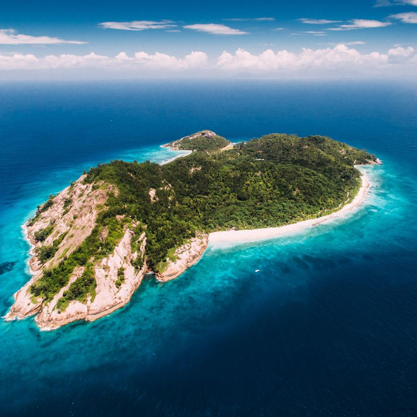 An aerial view of North Island, in the Seychelles.