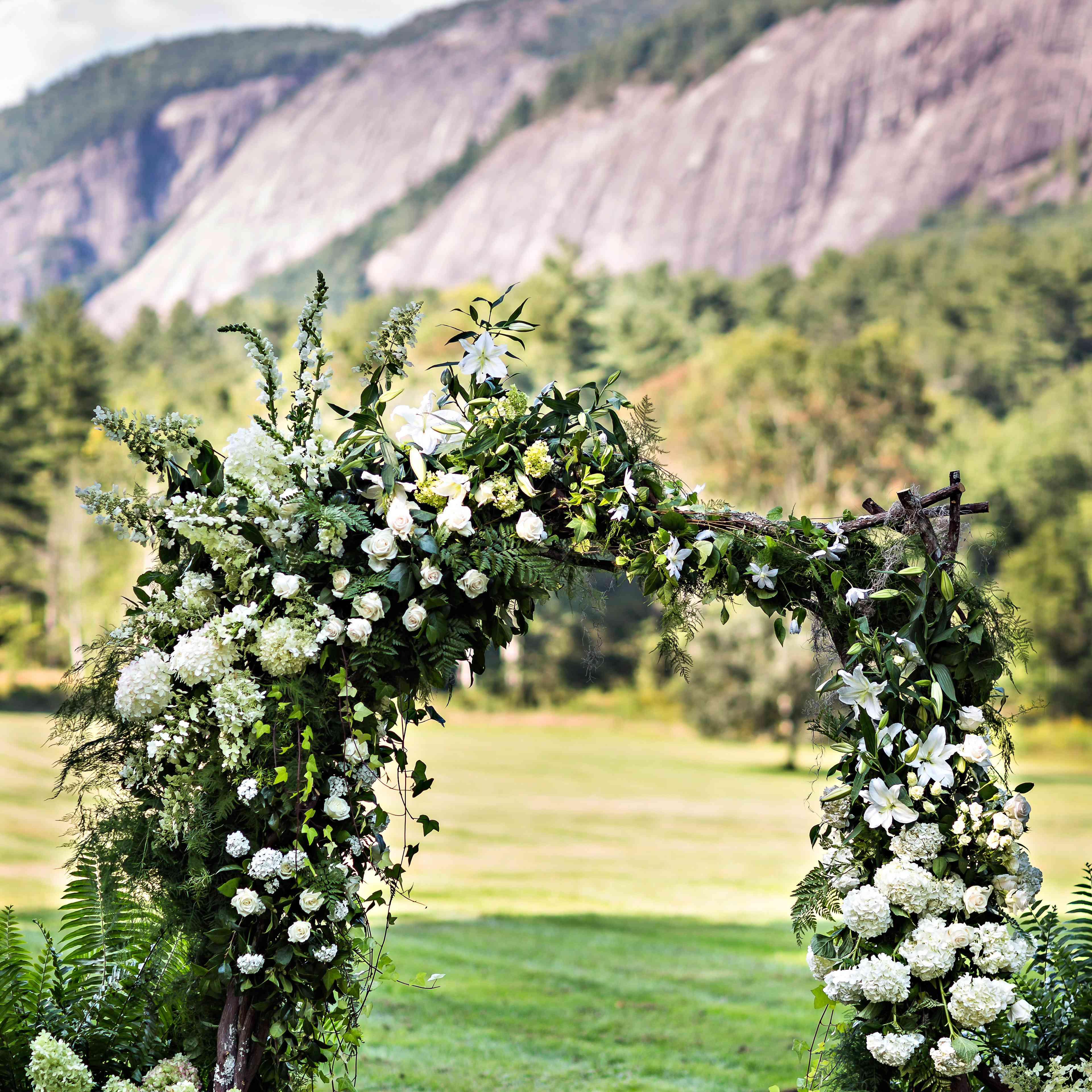 Floral arc at altar