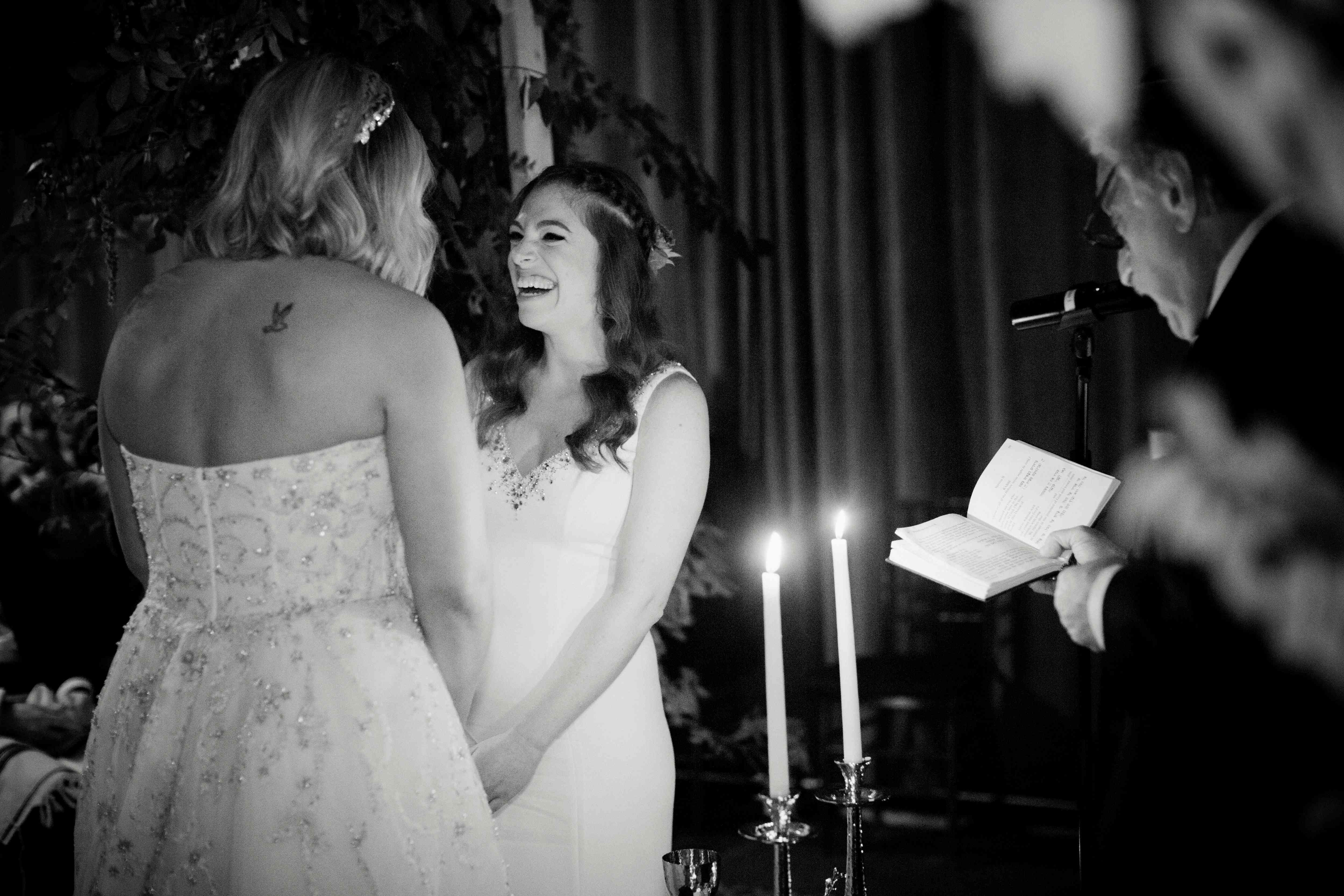 lesbian wedding brides at altar