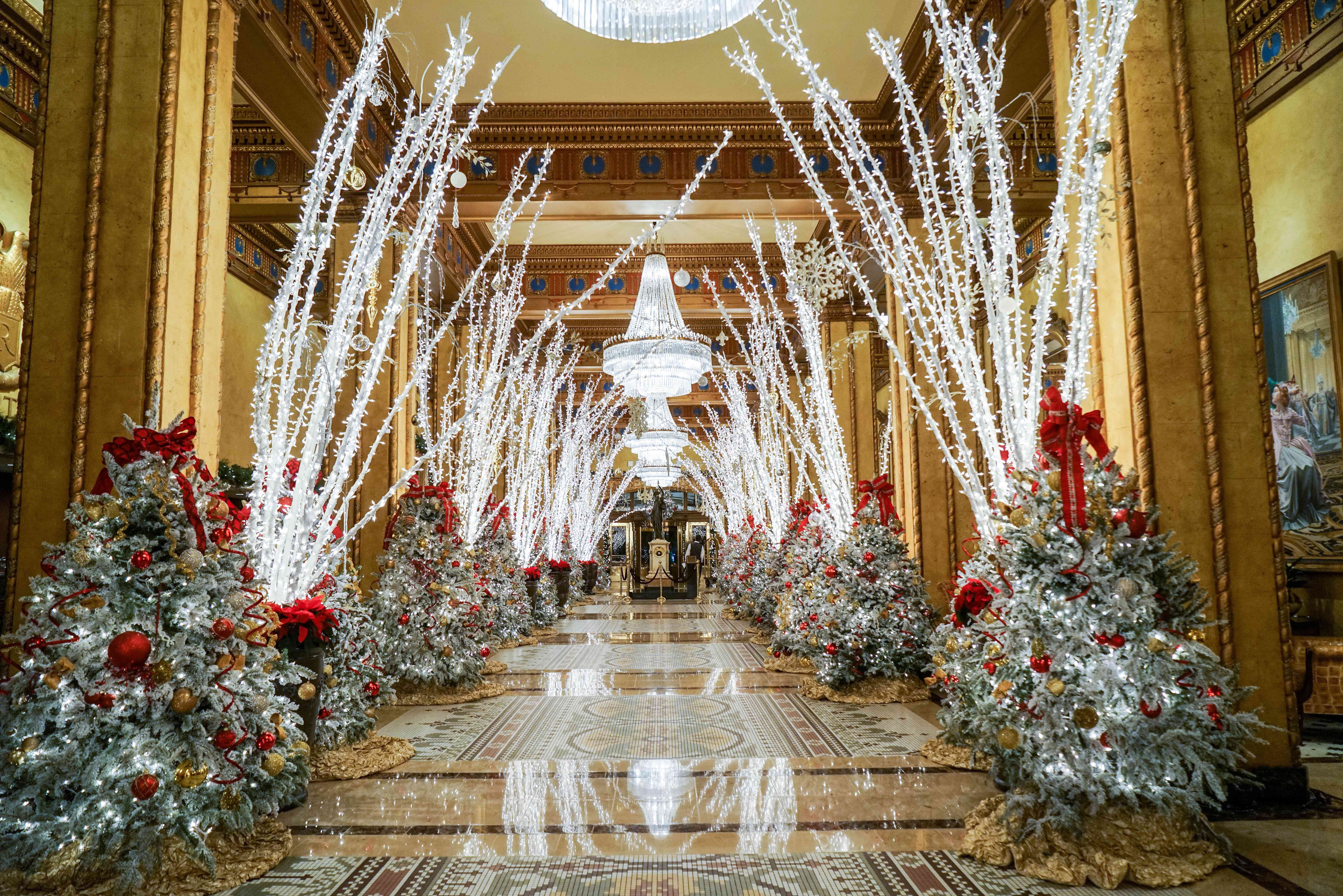 Christmas decorations at The Roosevelt Hotel in New Orleans