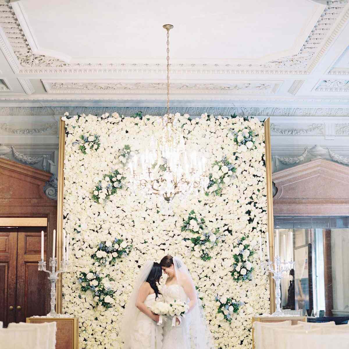 White flower wall backdrop