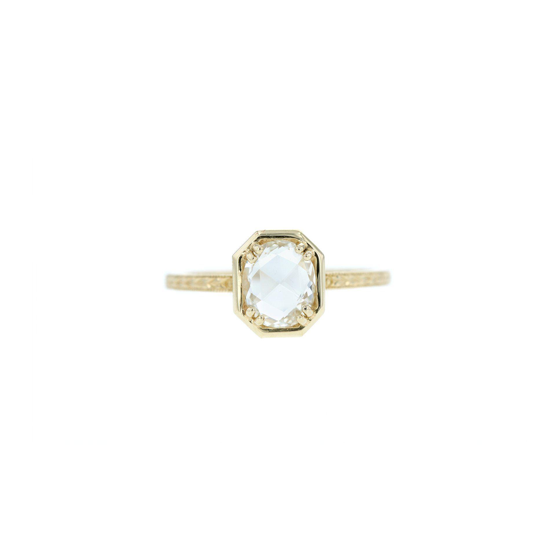 Grace Lee Oval Rose-Cut Diamond Bezel Ring