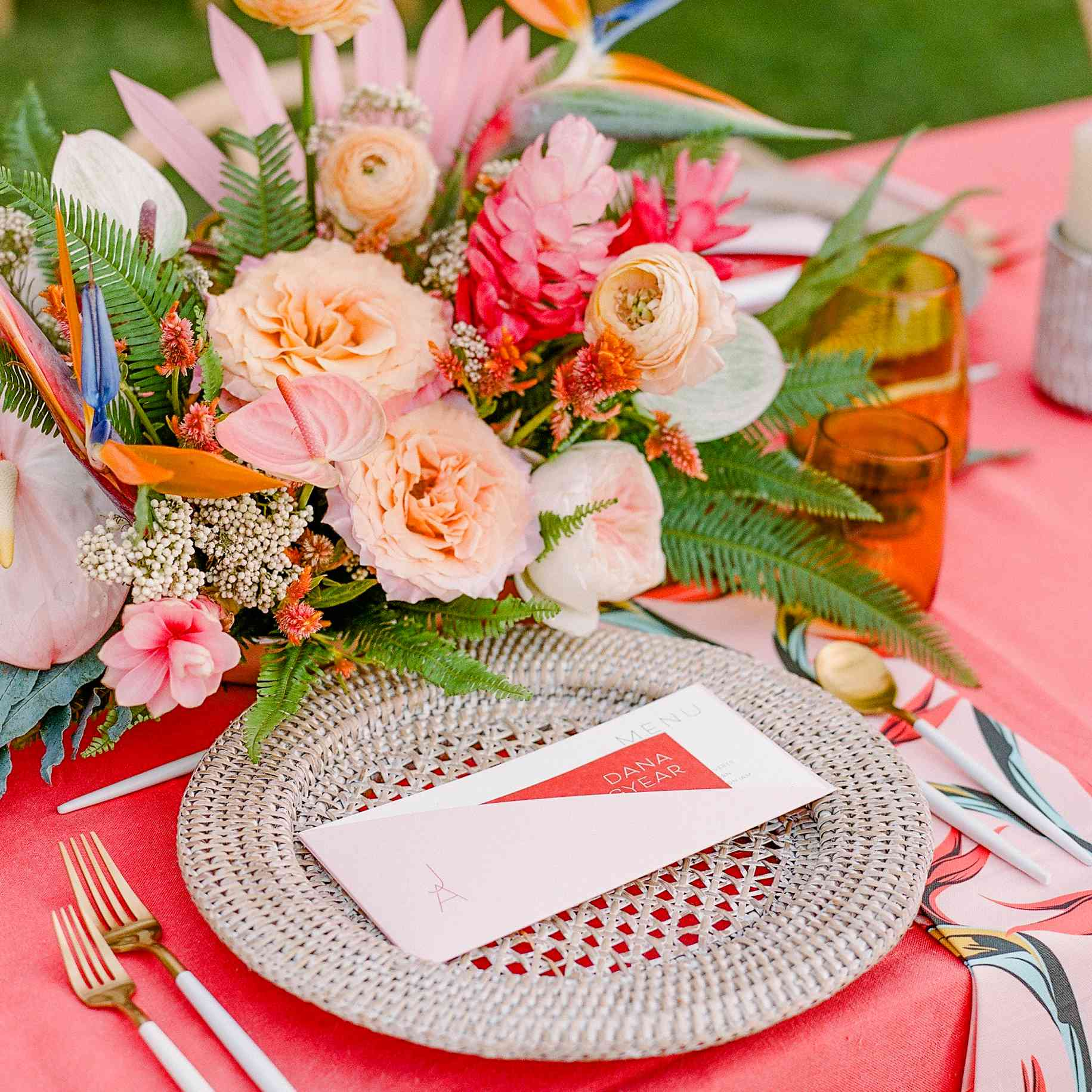 Red and pink tablescape