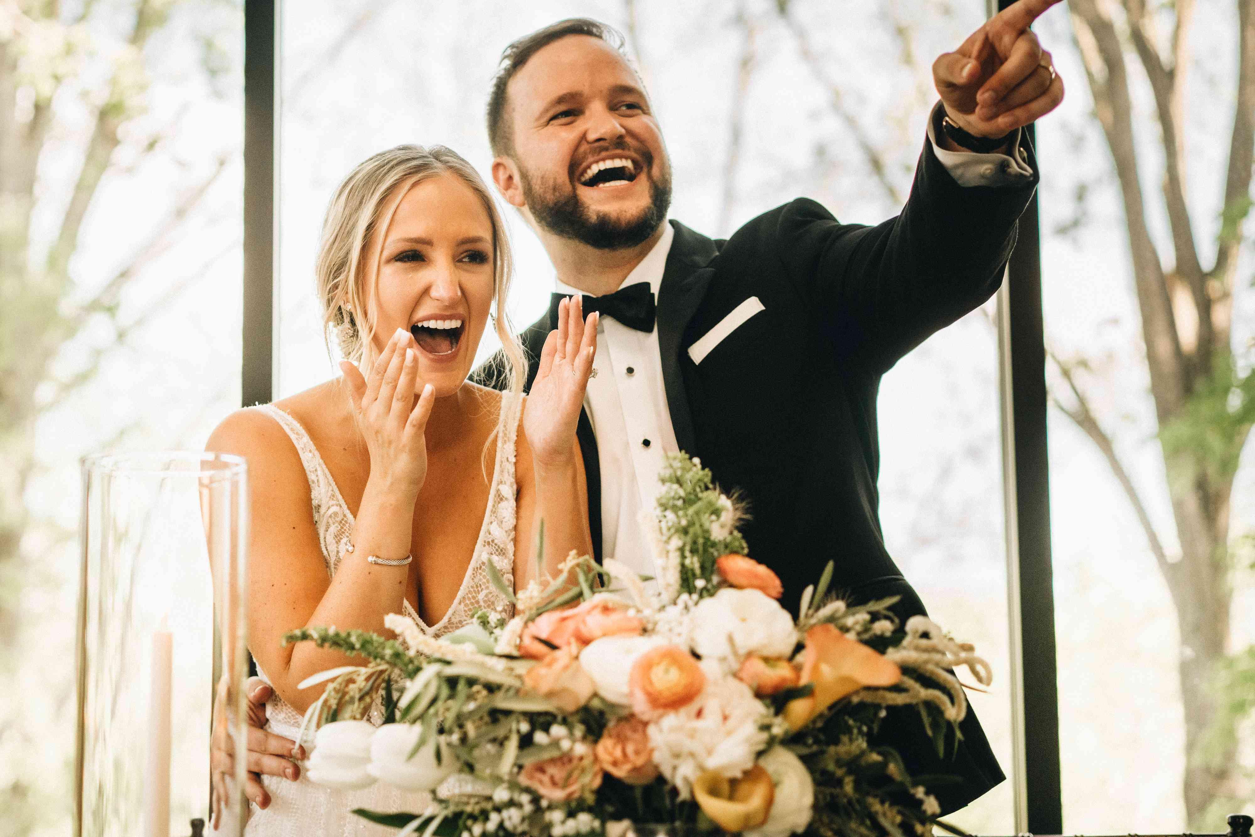newlyweds laughing