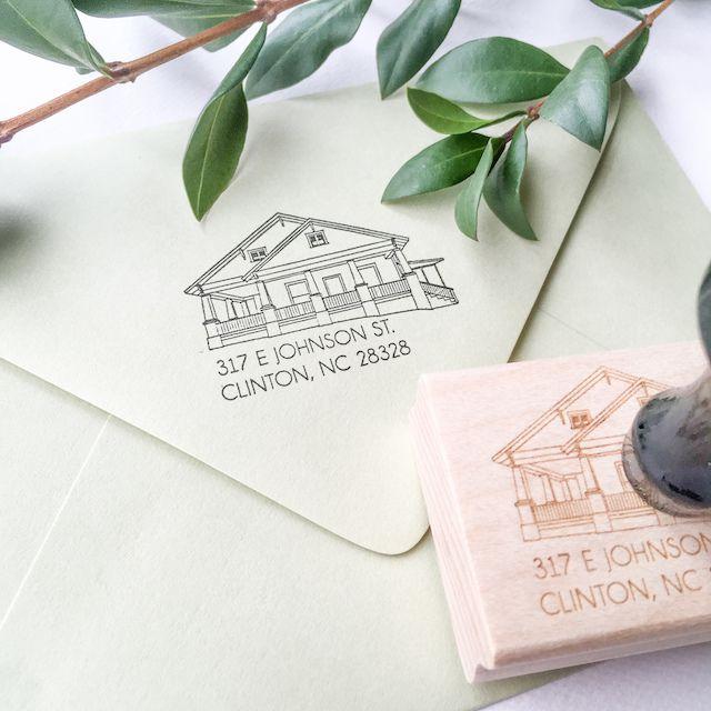 Custom House Portrait Address Stamp