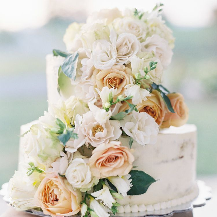 Two-Tiered White Wedding Cake with Roses