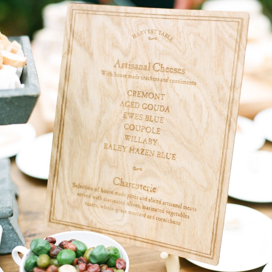 Artisanal Cheese Wedding Menu