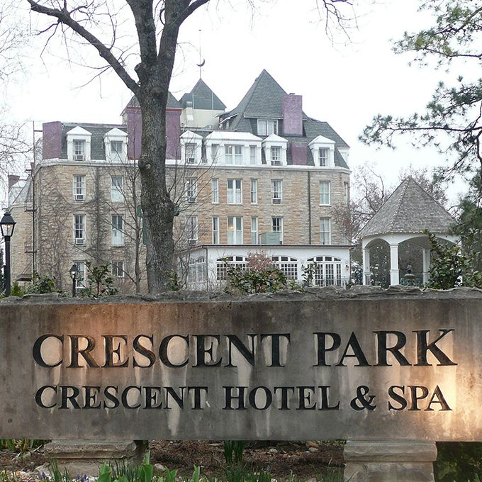 """You can't find a spot more ghostly than the 1888 Crescent Hotel and Spa , also known as """" America's Most Haunted Hotel ."""". A night at this Victorian-style retreat includes the company of famous ghosts like Michael, an Irish stonemason who fell to his death while building the hotel in 1865; Theodora, who died during her stay and may ask you to help her find her room key; and Morris the cat, who may appear at the foot of your bed while you sleep. If mysterious appearances throughout your wedding night aren't enough, schedule one of the hotel's popular — and spooky — ghost tours for your guests"""