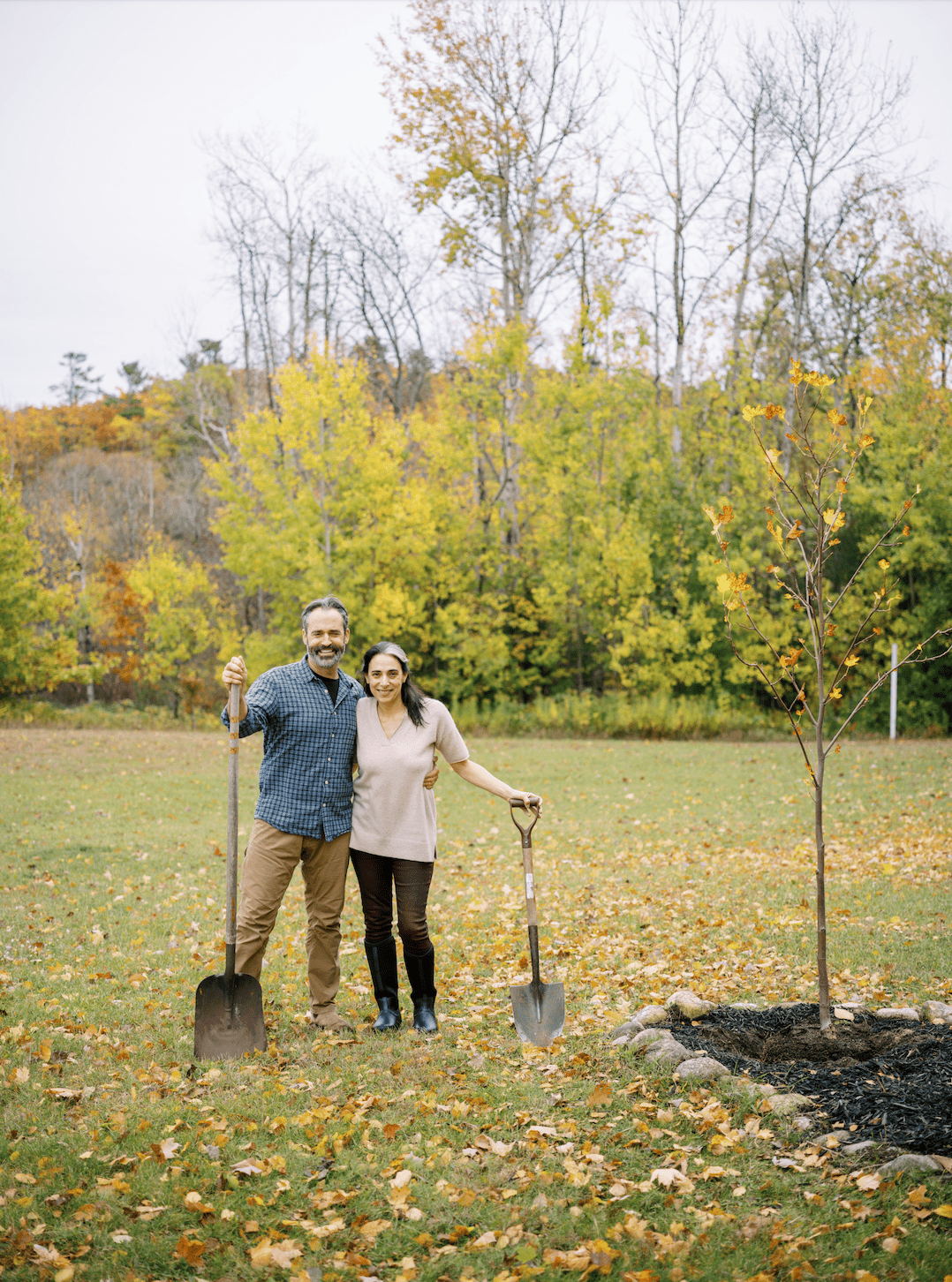 Couple planting a tree