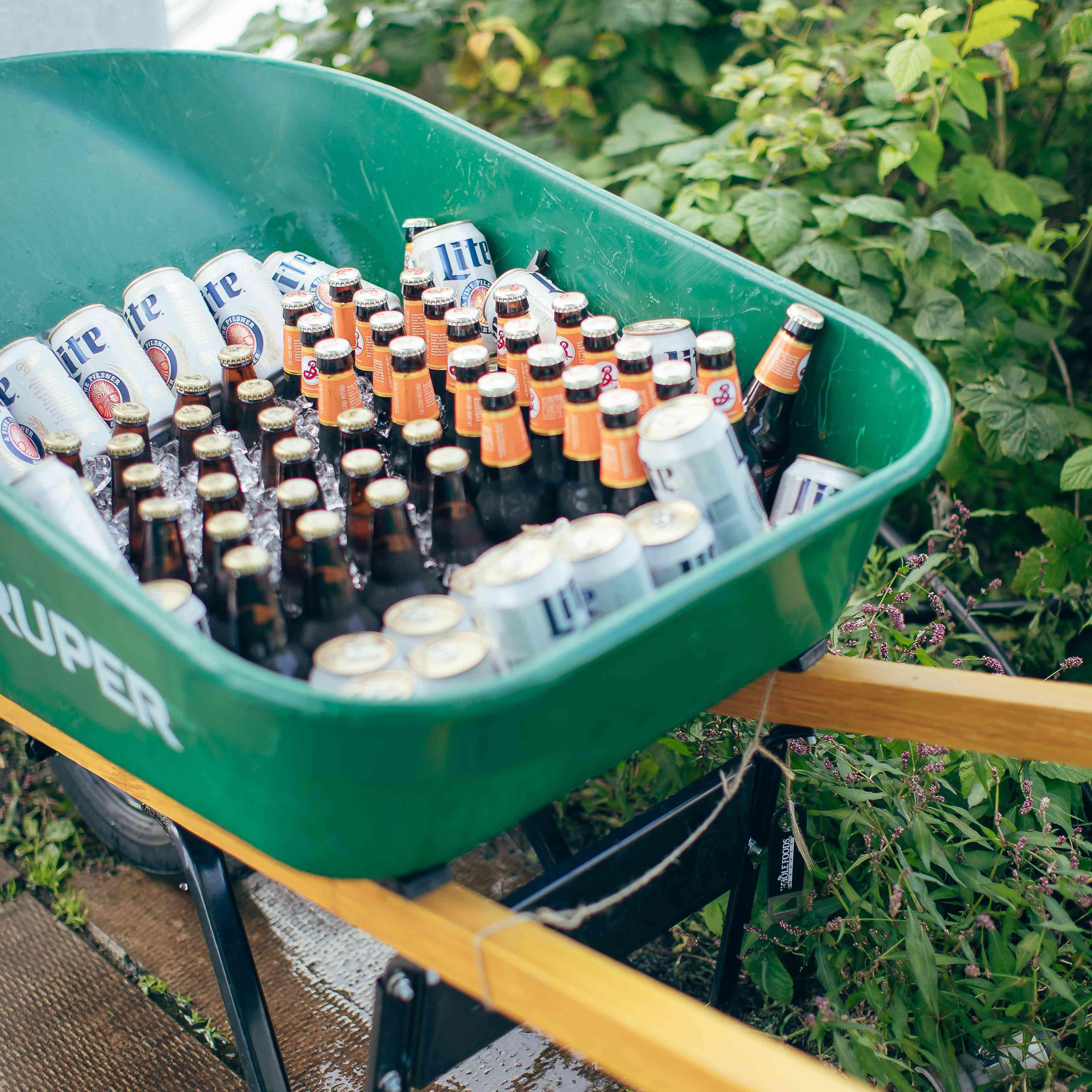 Beer in wheel barrow