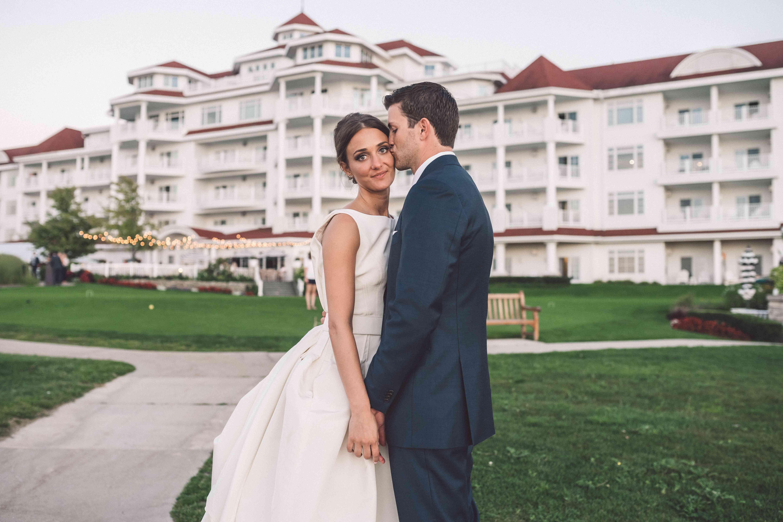 Bride and Groom Outside Hotel Venue