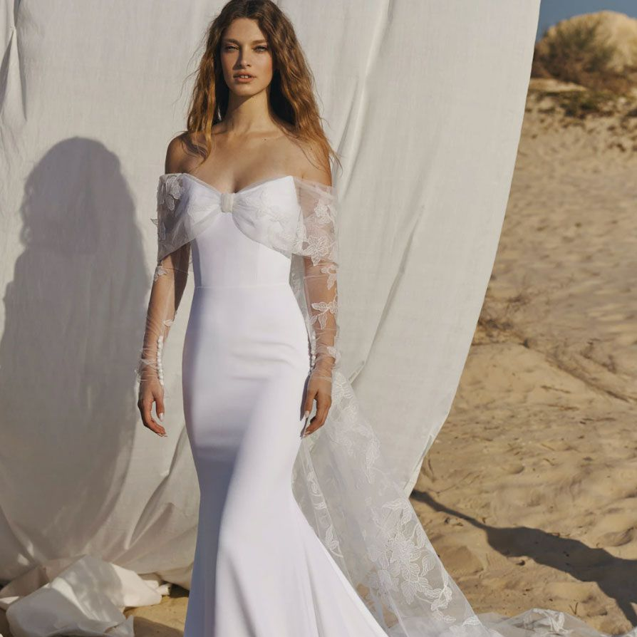 off the shoulder gown with veil
