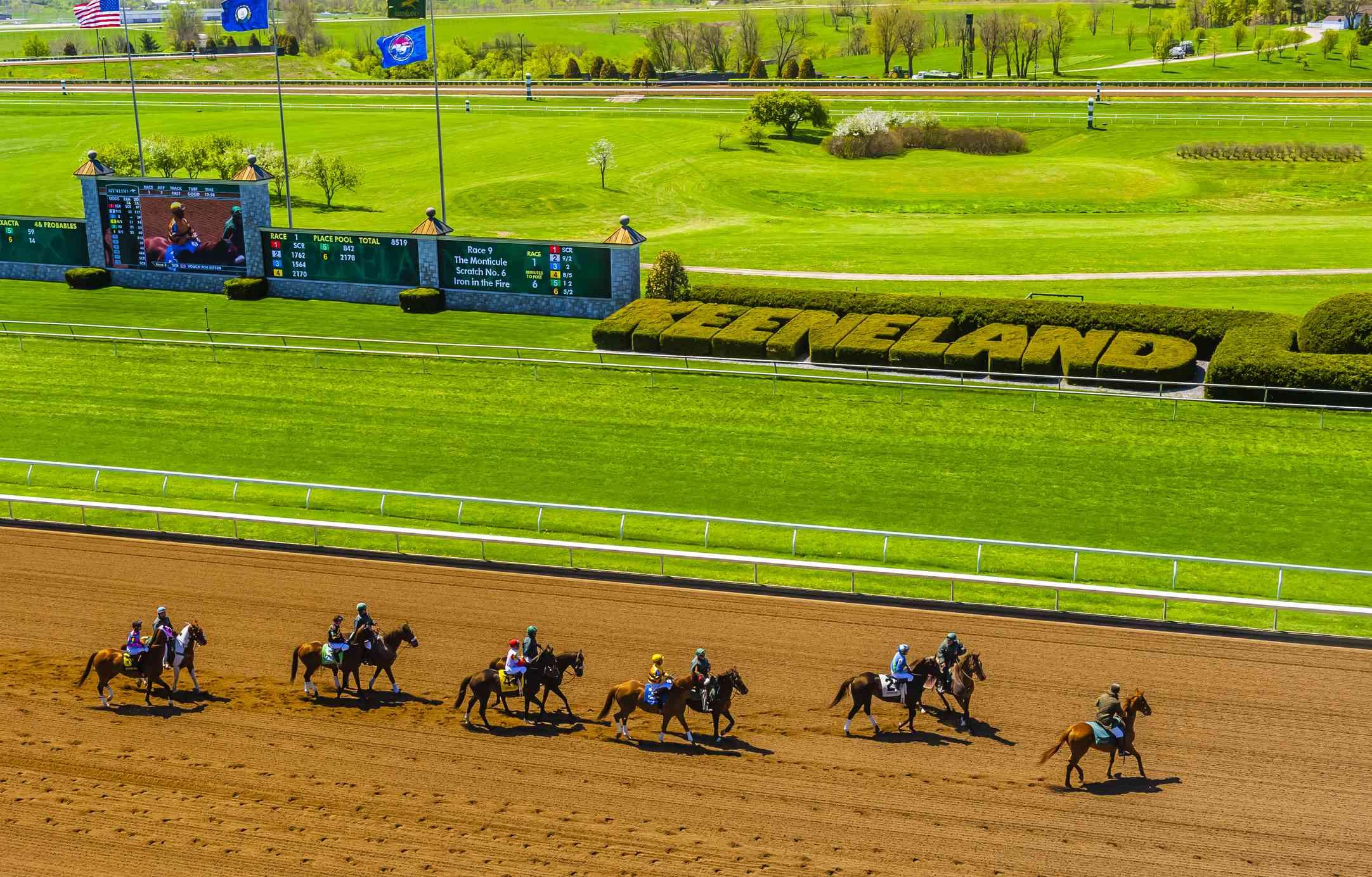 Horses racing at Keeneland Track in Lexington, Kentucky