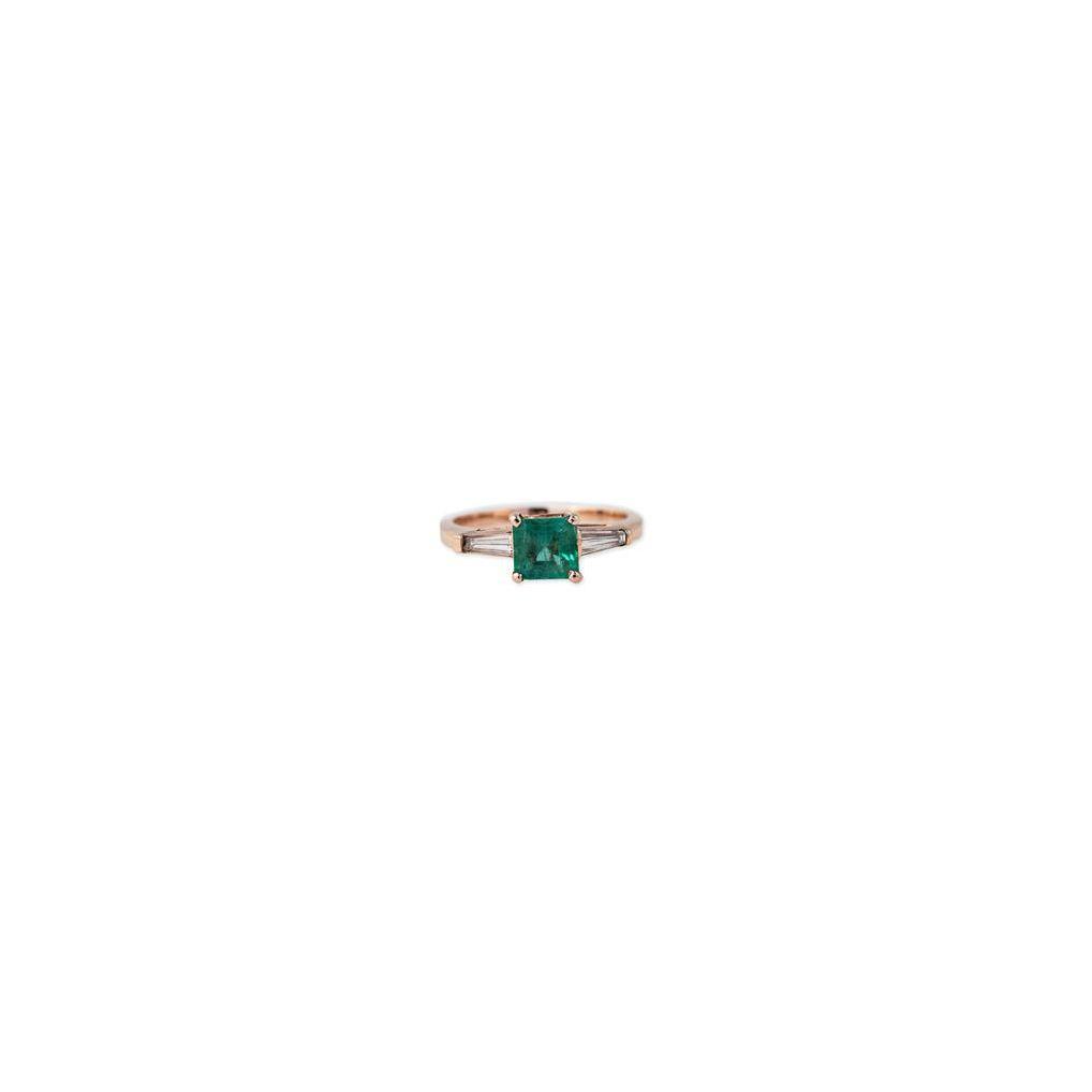 Jacquie Aiche Emerald + Diamond Baguette Ring