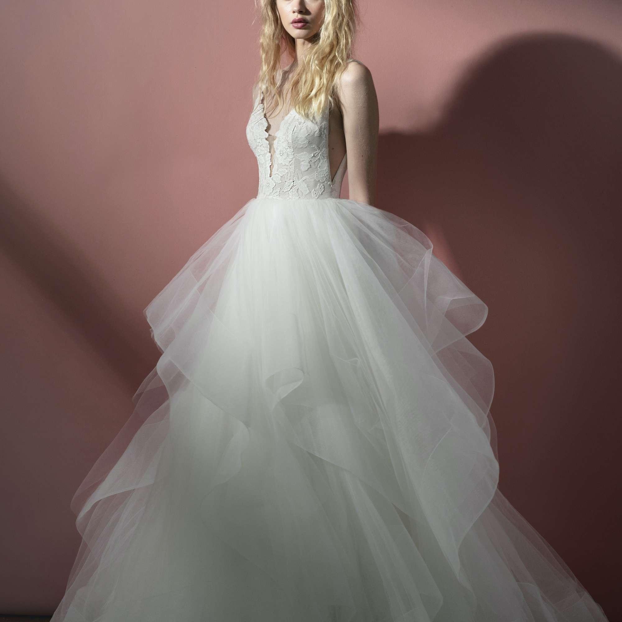 Gilly cascading ruffle wedding dress