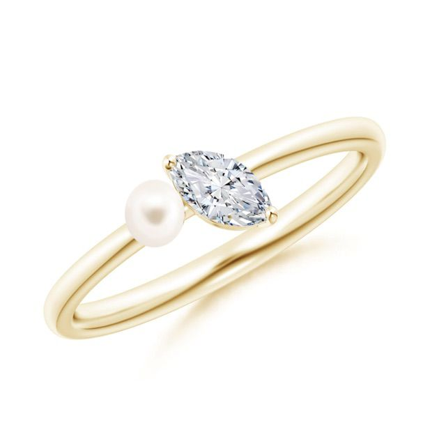 Angara Freshwater Pearl & Tilted Marquise Diamond 2-Stone Grande Engagement Ring