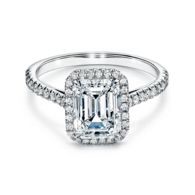 Tiffany Soleste® Emerald Halo Engagement Ring