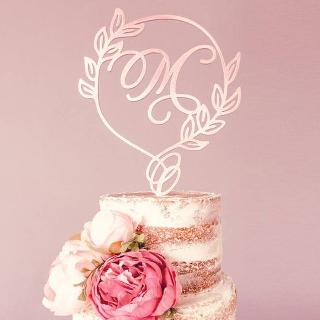 Leaf Design Wooden Monogram Letter Cake Topper