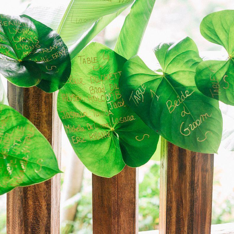 Palm leaf wedding seating chart