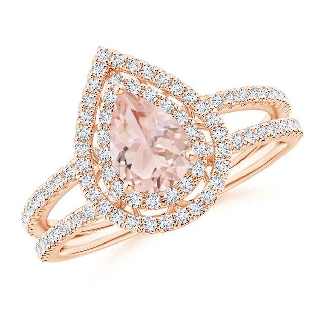Angara Split Shank Pear Morganite and Diamond Double Halo Ring