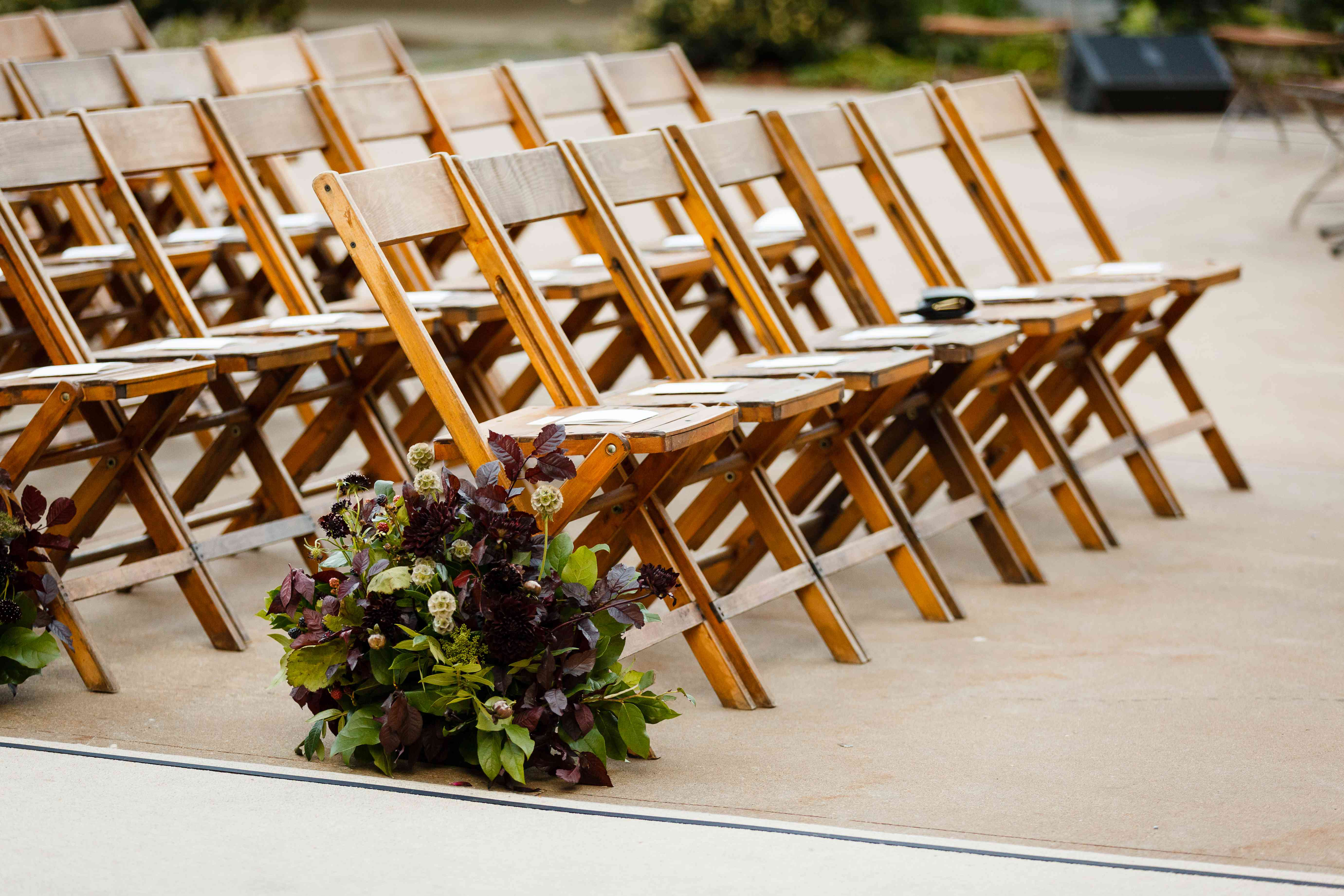 ceremony seating and floral aisle decoration