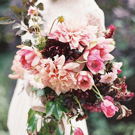 Bows & Arrows dahlia wedding bouquet