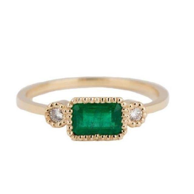 Jennie Kwon Emerald Lexie Ring